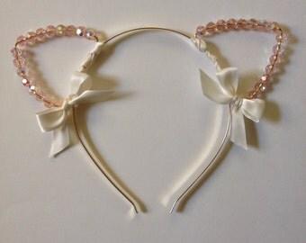 Light Pink Beaded Cat Ear Headband with Bows