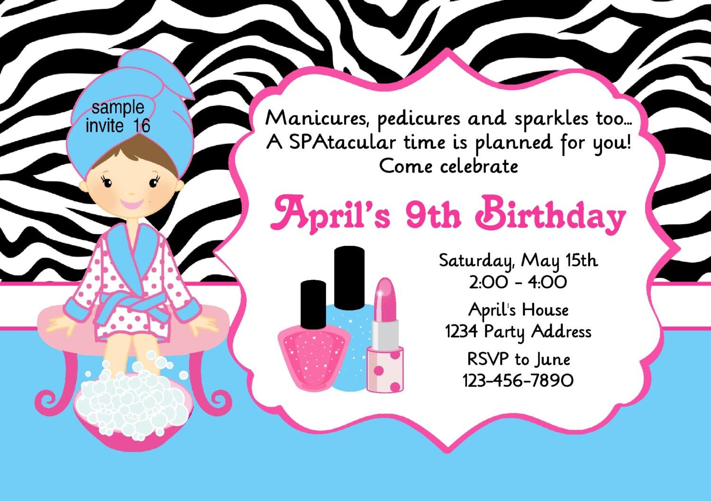 Makeup Birthday Party Invitations Mugeek Vidalondon – Pedicure Party Invitations