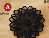 Black Tulle Flower Lace Appliques Patches 2 pcs