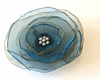 Teal and olive organza flower brooch pin/ hair clip