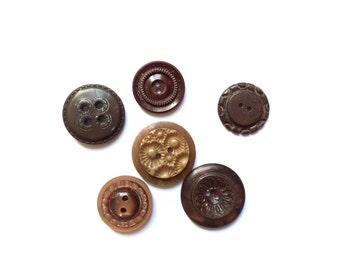 6 Vintage Buttons, Brown Mix Set Buttons
