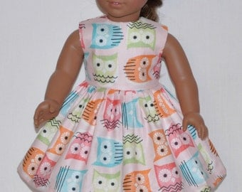 handmade Pink Dress Highlighting Owls Of Different Colors Fits American Girl Doll