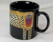 Vintage Laurel Burch Black Zzzebra Zebra Gold White Lion Tiger Coffee Mug Cup
