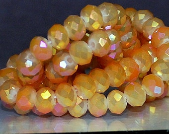 25 pcs 6x4mm Frost Light Orange with Fuchsia and Gold Firepolish Rondelle Crystals