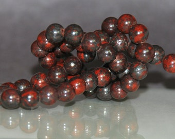 Half Strand 6mm Bloodstone Gemstone Beads - 30 beads