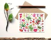 botanical print - terrarium flowers plants flora cactus succulent garden - blank card - gift for gardener
