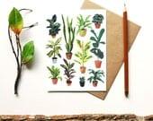 Potted plants blank card - botanical print - indoor garden houseplant terrarium flowers plants flora cactus succulent - gift for gardener