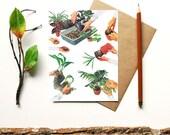 helping hands - botanical print - potted plant terrarium flowers plants flora houseplant garden - blank card - gift for gardener greenthumb