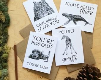Animal Pun Funny Greeting Card Set Clever Card Funny Birthday Card Hello There Funny Animal fox lion owl whale sheep iguana giraffe elephant