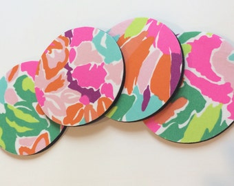 4 Coasters made with Lilly Pulitzer fabric Multi LuLu