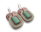 CLEARANCE SALE! Turquoise and Red Earrings Turquoise and Red Jewelry Red and Turquoise Earrings Red and Turquoise Wedding Mint and Red State