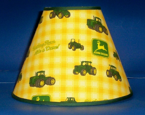 Green John Deere Lamp Shade : John deere yellow check lamp shade lampshade by justyourshade
