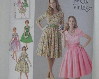 50s Retro Dress, Vintage Style Retro Design Dress Pattern, Retro Design 1950s Pattern, Simplicity 1459, SZ 8 through 16