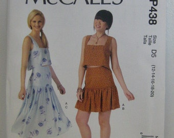 Top and Skirt Pattern, Mc Calls MP438, Summer Top, Summer Skirt Pattern, Mc Calls Pattern, Summer Vacation, Size 12 through 20, Uncut