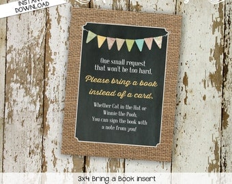 Bring a Book instead of a card enclosure card insert storybook theme library burlap rustic chic chalkboard lace 1410 1431 Katiedid Designs