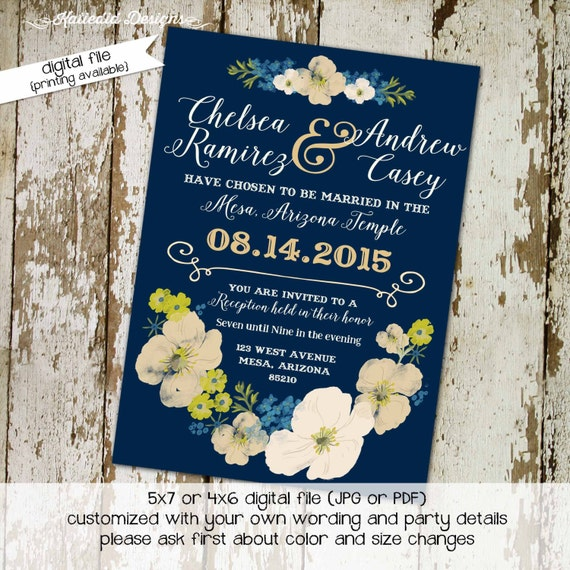 Couples Bridal Invitation floral chic invite Rehearsal Dinner save the date postcard stock the bar co-ed navy cream 324 Katiedid designs