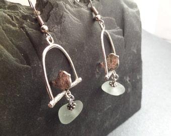 Bird Earrings, 3D Earrings, Bird on a Swing, Scottish Jewelry, Sea Glass Jewelry from Scotland, White Sea Glass, Canary Earrings, Beach