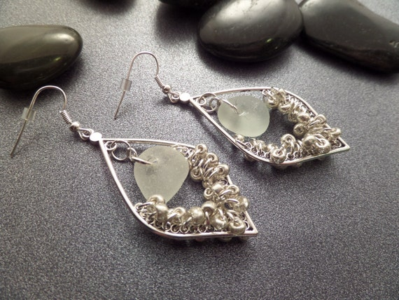 Sea Glass Hoop Earrings in White and Silver From Scotland, Leaf Shape, Authentic Sea Glass, Scottish Jewelry, Vacation Keepsake,