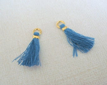 Gold Dangle Small Thread Tassel, Small Material tassel, PeacockTassel,  2 pc, U5706