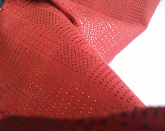 Lambskin Leather Hide With Abstract Imprint - Red