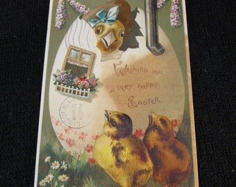 Antique Easter Postcard with Chicks