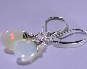 Ethiopian Welo opal Earrings Drop Opal earrings Opal Jewelry Birthstone October Sterling silver Jewelry