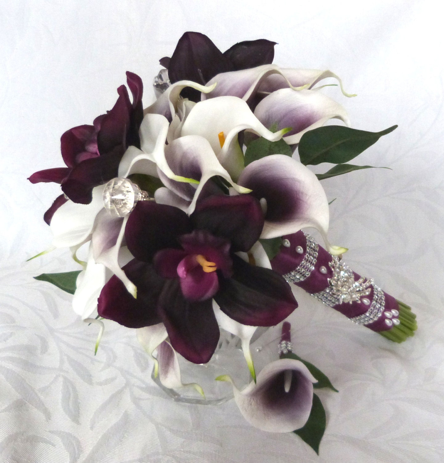 Lily Flower Wedding Bouquet: Picasso Real Touch Calla Lily Bridal Bouquet Plum Orchid White
