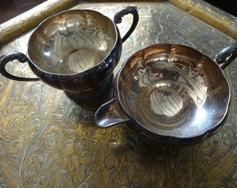 Vintage English silver plate metal tea set pot sugar bowl dish loving cup style circa 1920-30's / English Shop
