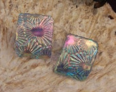 Fused Dichroic Glass Earrings - Unique Curving Post Earrings