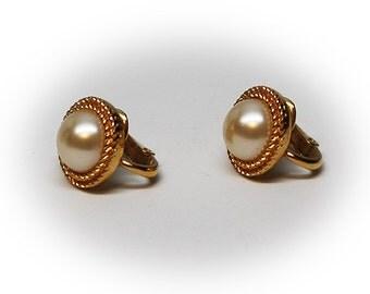 Vintage Gold Tone Crown Trifari Faux Pearl Earrings