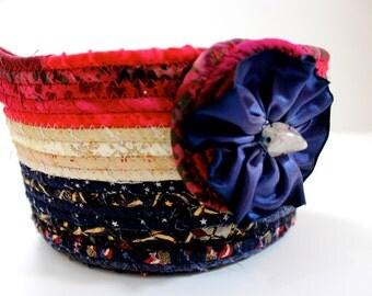 Clothesline Rope Basket - Americana Patriotic Gift Basket - July 4th - Independence Day - Summer Decor - Sally Manke Fiber Art - Handmade