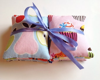Set of 6 Cupcakes and Apple & Pear print Sensory Beanbags