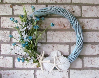 Blue Coastal Wreath with Starfish and Scallop Shells