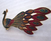 SALE 35%OFF//vintage peacock gold pin