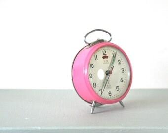Vintage Pink Mechanical Alarm Clock