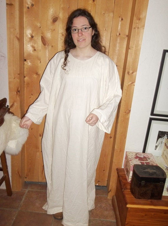 Full length t-tunic in unbleached cotton muslin.
