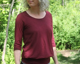 Organic Clothing Hip Hugger Shirt Loose Fit Organic Cotton Bamboo Jersey Relaxed Woodland Earth Mama Gaia Nature Eco Conscious Garnet Red