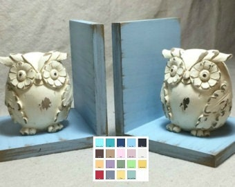 Owl Figurines Set of Bookends//Available in a Variety of Colors//Farmhouse Decor//Owl Book Ends//Shabby Chic//French Country//Gifts Under 25