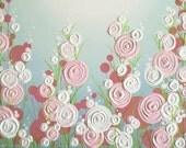 "Nursery Art, Pink and Aqua textured flowers, 16x20"" canvas, Original Painting, ready to ship, Brooklyn Nursery"
