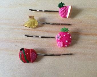 Kawaii tropical fruit hair pins