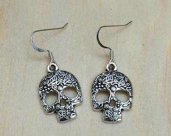 Silver sugar skull dangle earrings