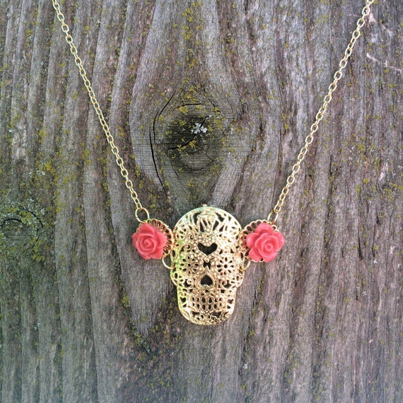 Gorgeous sugar skull and rose necklace