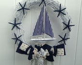 Sailboat Decor-Nautical Wreath-Annie Gray Design-Sailing Decor-Sailors-Beach Wreath-Navy Wedding-Naval Decor-Anchors Aweigh-Ship Decoration