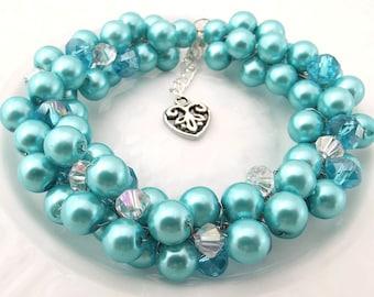 Turquoise Pearl Bracelet, Cluster Bracelet, Turquoise Bracelet, Bridesmaid Bracelet, Pearl Statement Bracelet