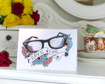Buddy Holly glasses old school tattoo handmade birthday card