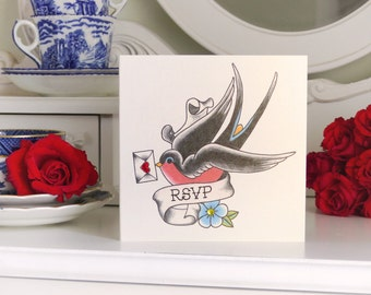Sailor Jerry Style Swallow with Love Letter Vintage Tattoo RSVP Card