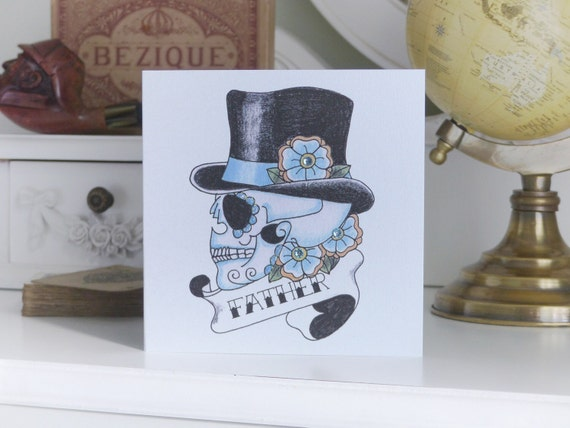 Tattoo Style Top Hat Sugar Skull Father's Day card