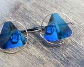 1990s TRIANGLE Sunglasses.....john lennon. mirrored. round lens. rudeboy. retro sunglasses. geometric. hippie. boho. urban. hipster. blue