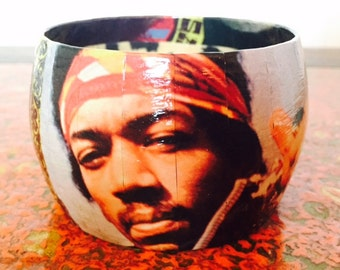 Bold and colorful Jimi Hendrix bangle bracelet
