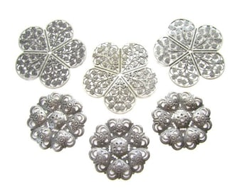 6 Large Antique Silver Filigree Wraps / Stampings